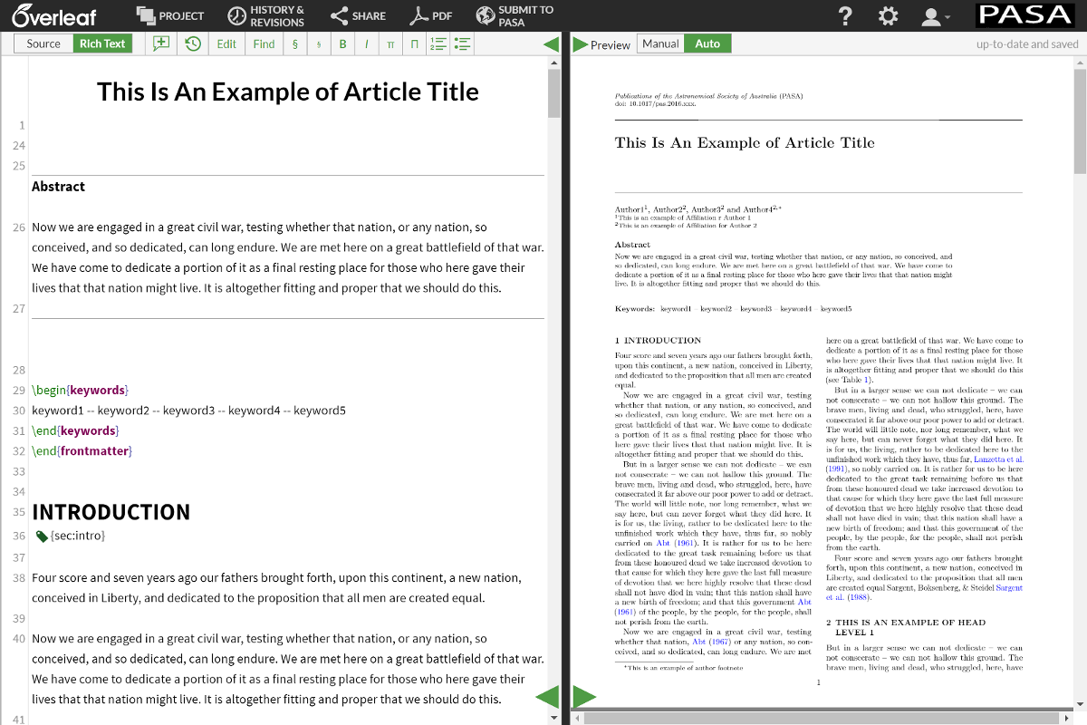 The new CUP PASA LaTeX Templates in Overleaf