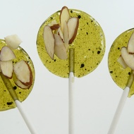 Matcha Green Tea with Toasted Almonds and Pear - Lollipop from The Groovy Baker
