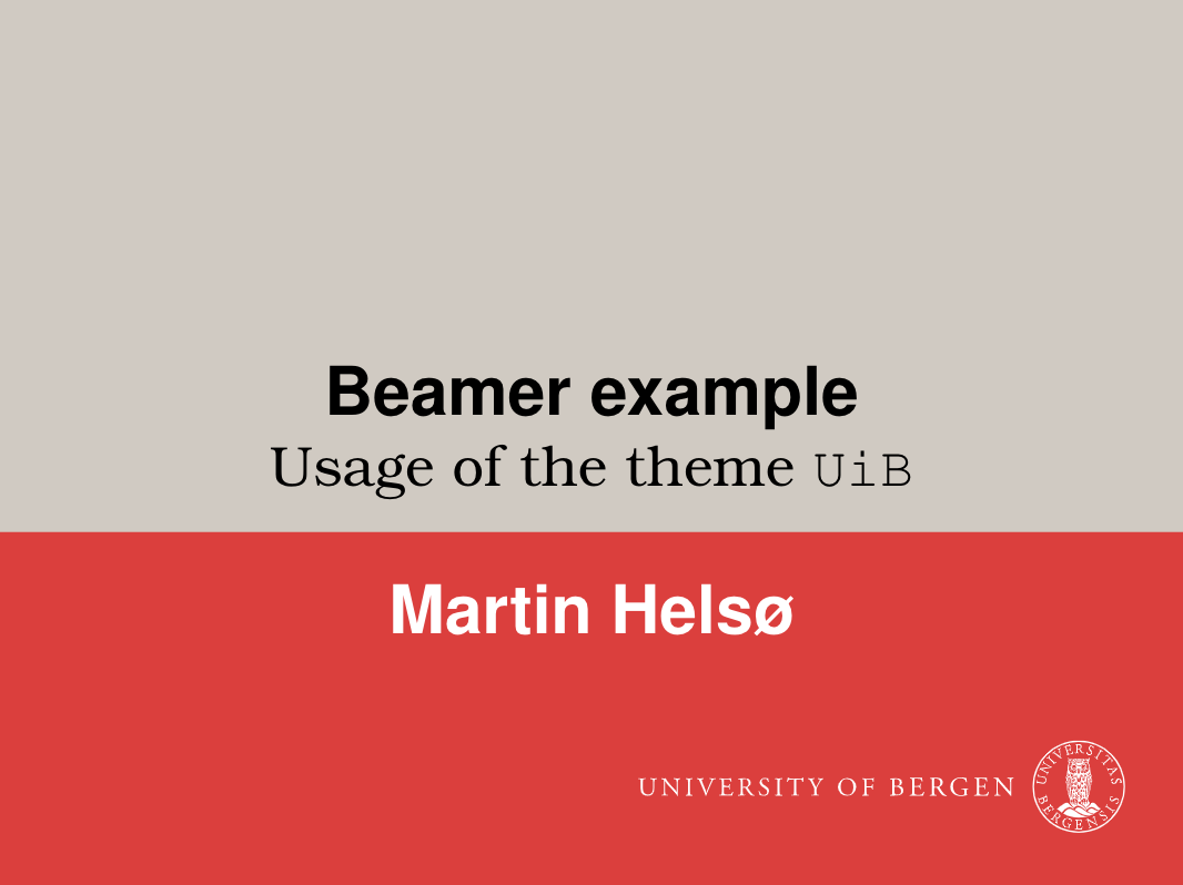 UiB Beamer Theme