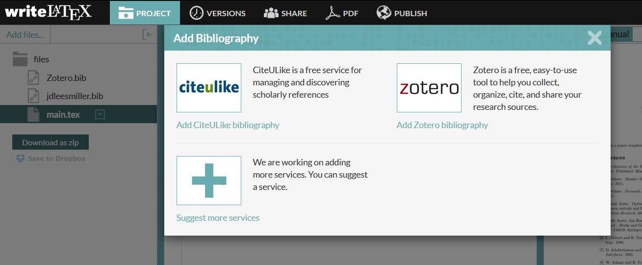 Writelatex add zotero citeulike bibliography to project screenshot