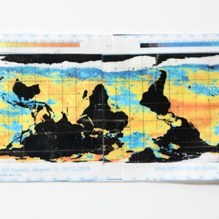 image: Susrface Sea Temperature Anomalies - 3x6inches, adhesive tape collage