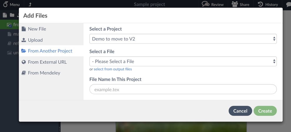 Screenshot Select where to add files from
