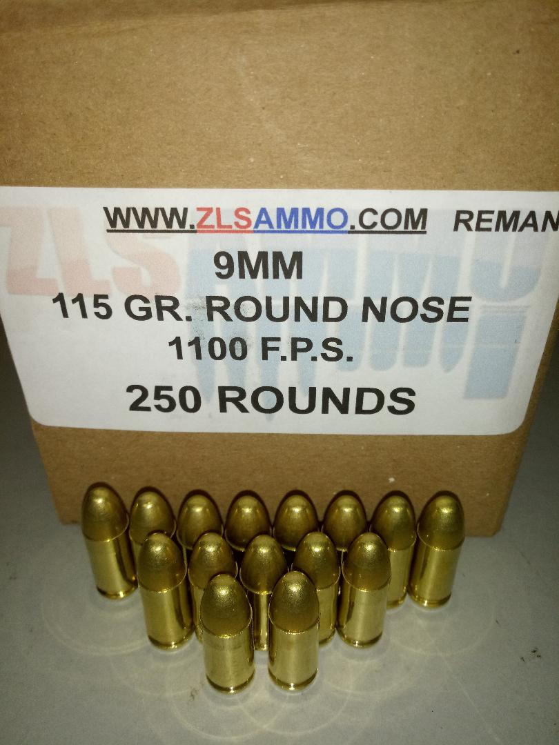 ZLS AMMO 9mm 115gr RN 250 rounds | ZLS GUNS & AMMO