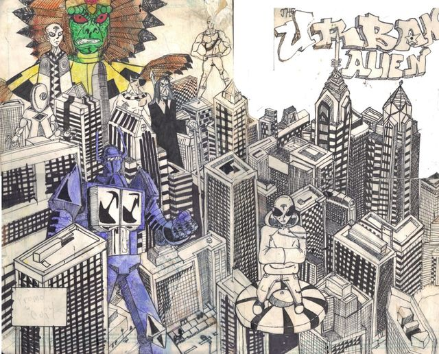 image: URBAN ALIEN ISSUE ONE GATEFOLD COVER. ORIGINAL SOLD OUT. PRINTS ONLY