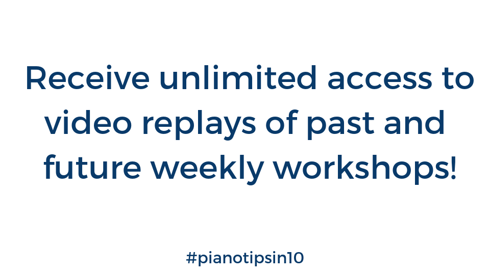 Recieve unlimited access to weekly replays of past and future weekly workshops!