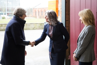dcg-ceo-mandie-stravino-and-chair-of-governors-janet-morgan-welcome-the-prime-minister-to-the-roundhousejpg
