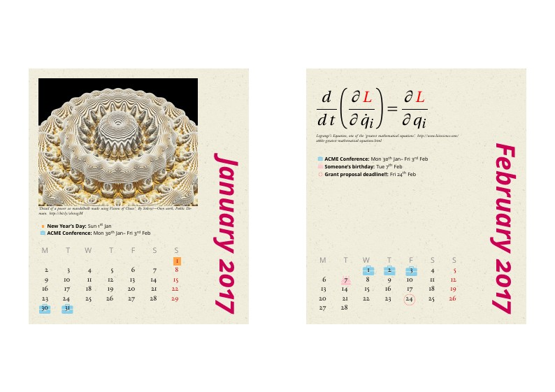 Desktop Calendar (fits CD jewel case)