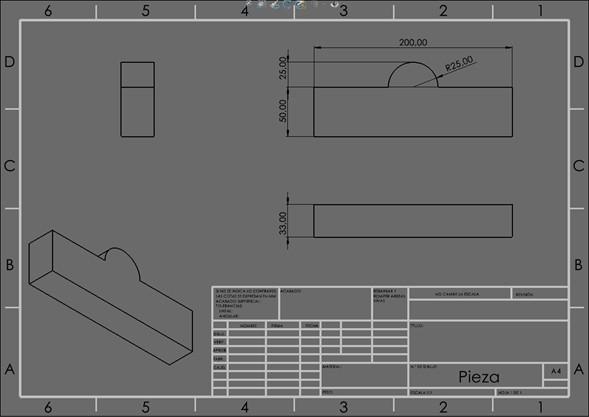 Visualización de las cotas y vistas del modelo en SOLIDWORKS