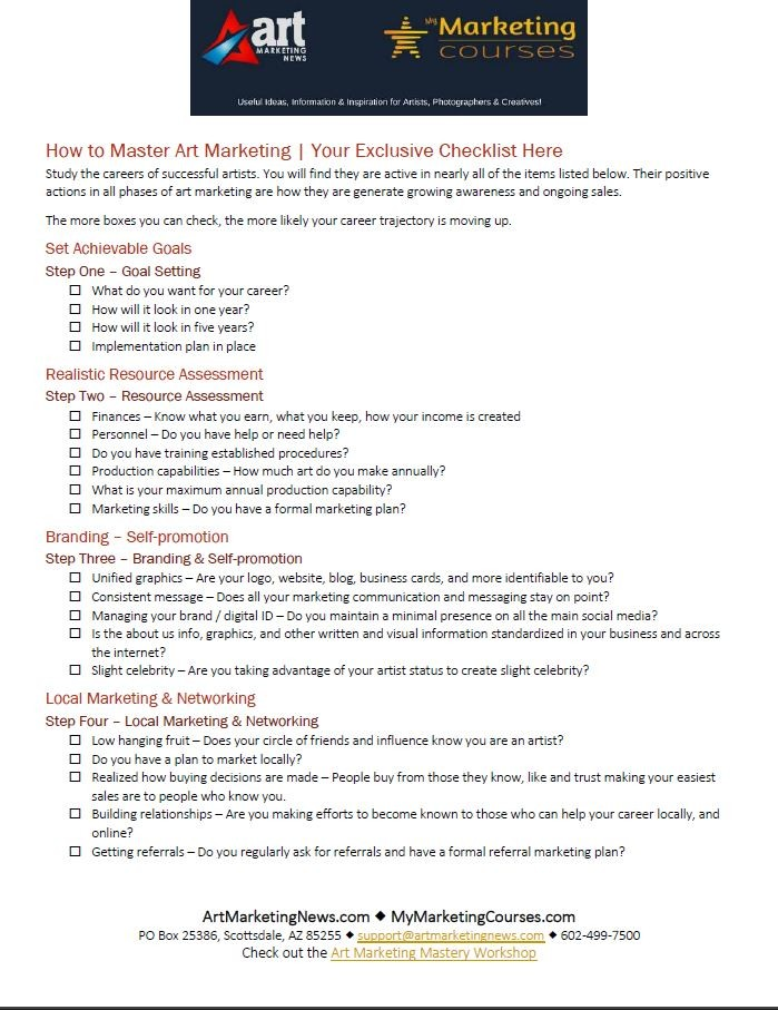 8-Steps to Art Marketing Mastery Checklist page 1