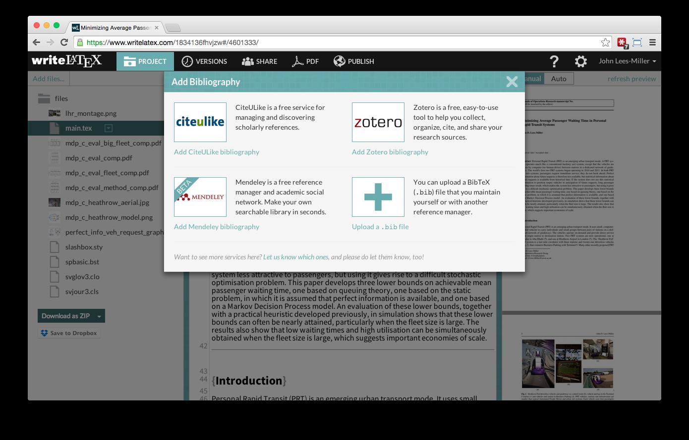 Overleaf Writelatex Mendeley reference bibliography import screenshot 2
