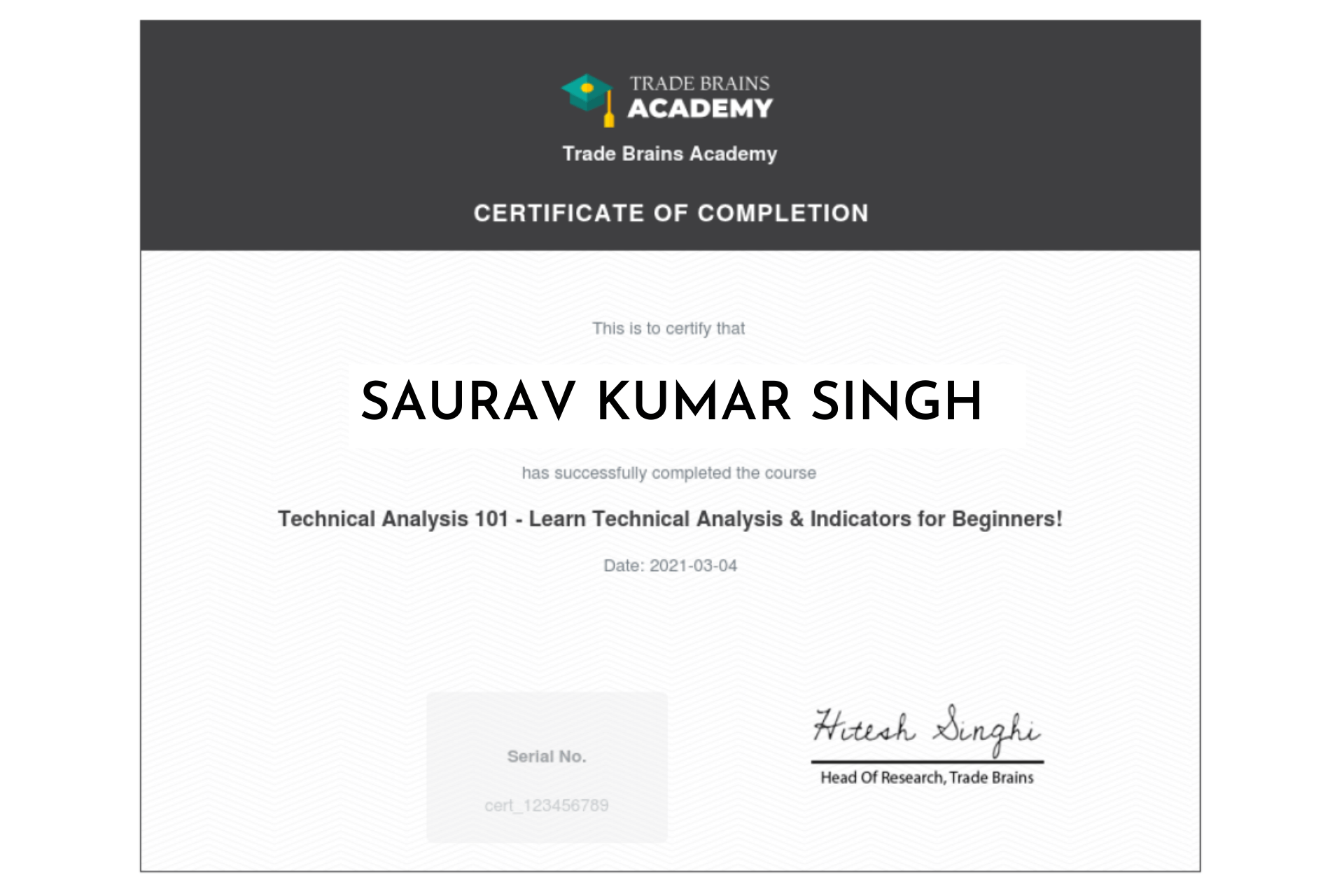 technical analysis course completion certificate