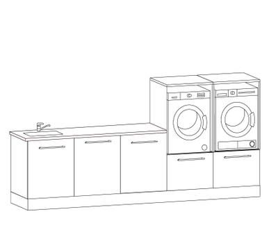 Vaskeromsinnredning, Forslag kombinasjon 313 cm