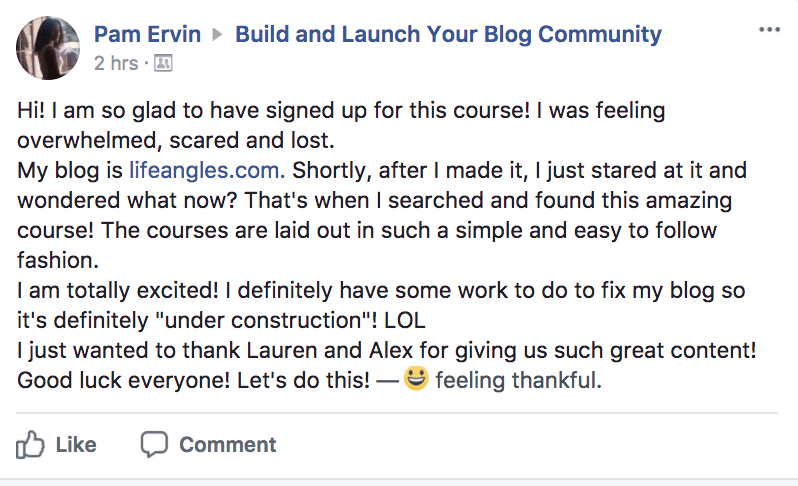 Pam Launch Your Blog Testimonial