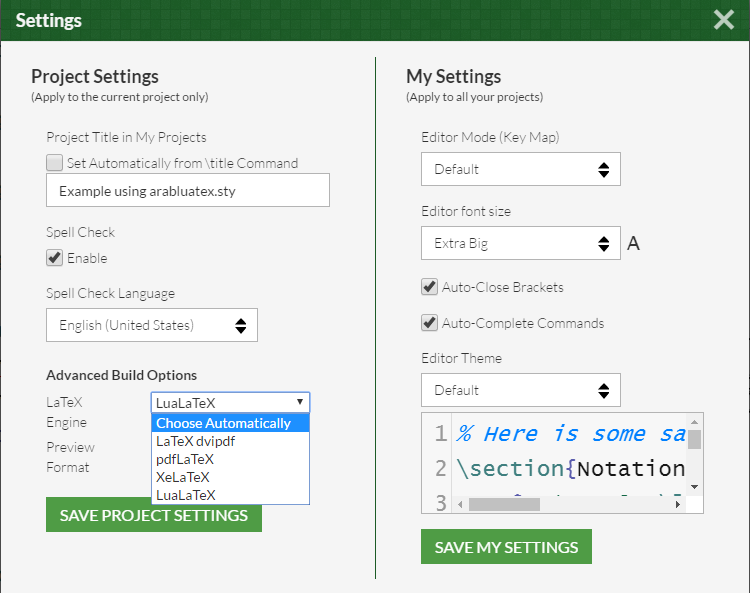 Overleaf Settings Window