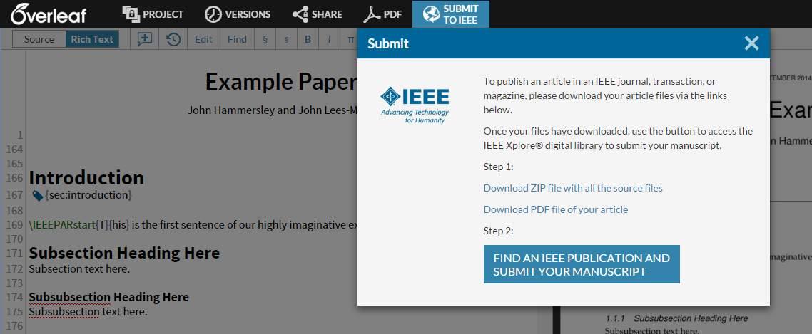 Overleaf editor screenshot showing IEEE journal submission link