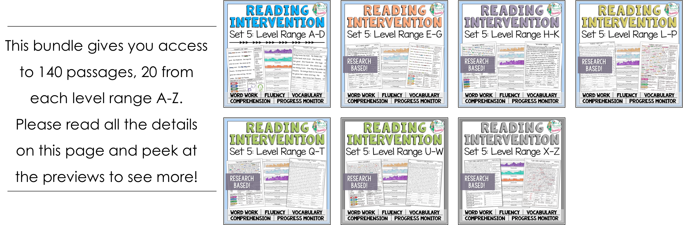 Reading intervention program set five bundle jen bengel 8 progress monitoring pages for teacherstutors to track student growth with fluency comprehension word work and vocabulary geenschuldenfo Image collections