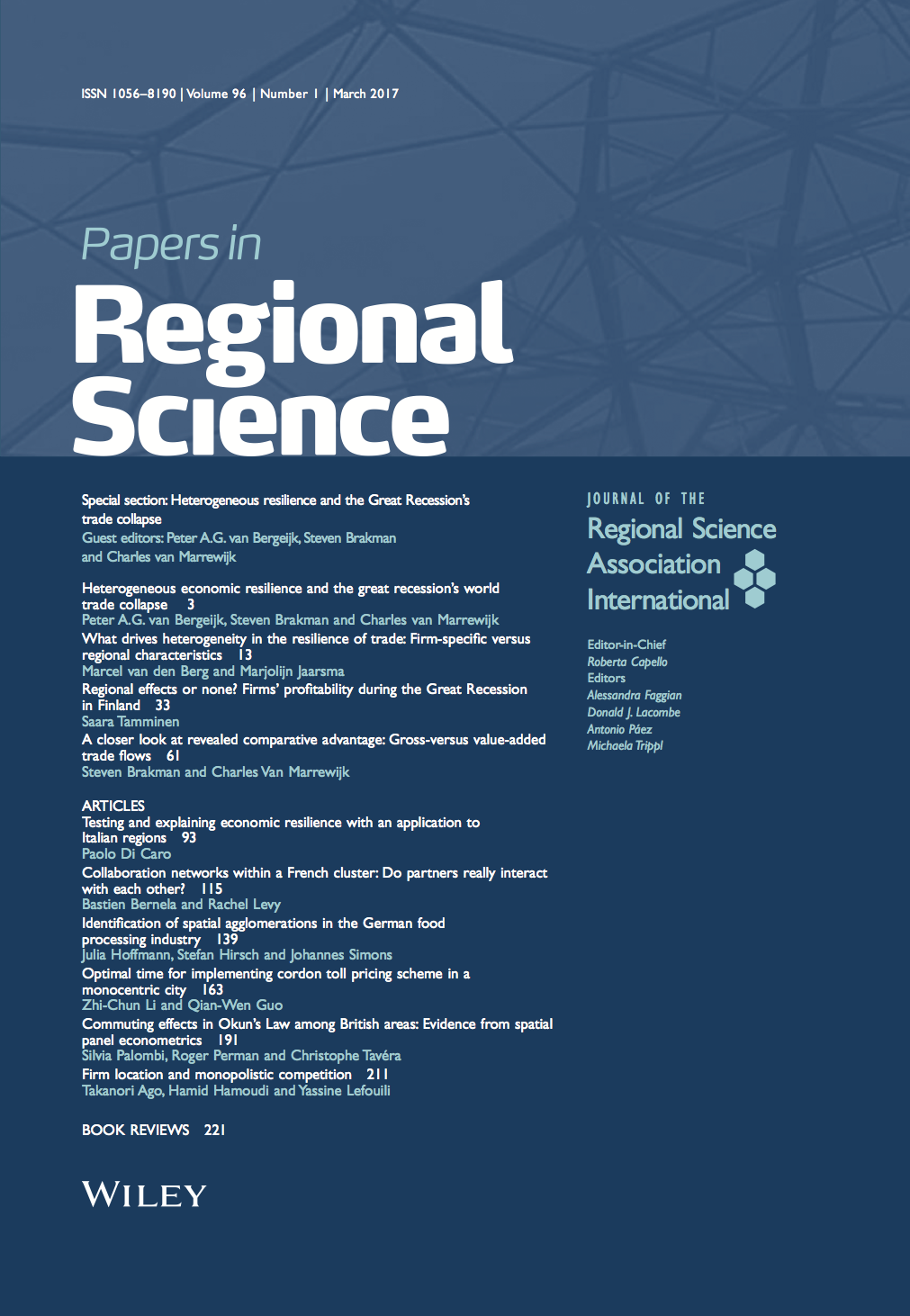 Template for submissions to Papers in Regional Science
