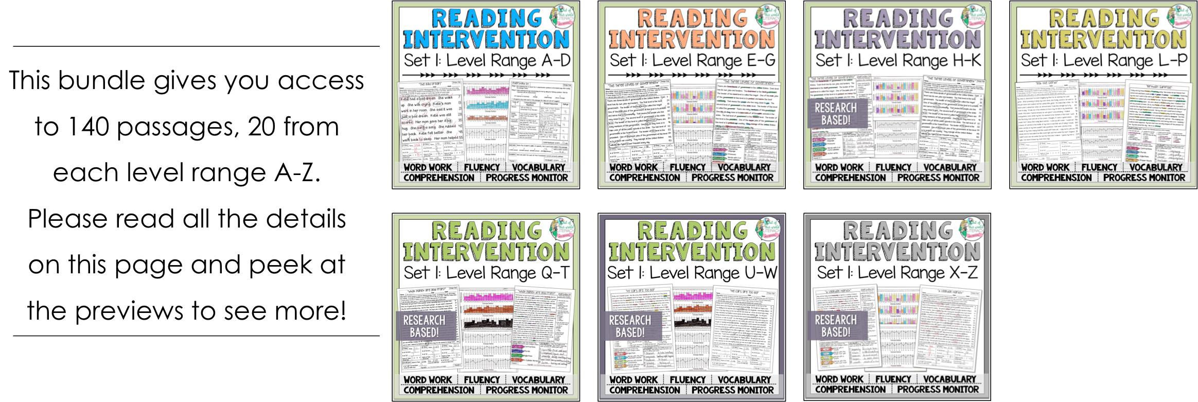 Reading intervention program set one bundle jen bengel each passage is not individually leveled however they range from fountas and pinnell levels a d e g h k l p q t u w and x z geenschuldenfo Choice Image