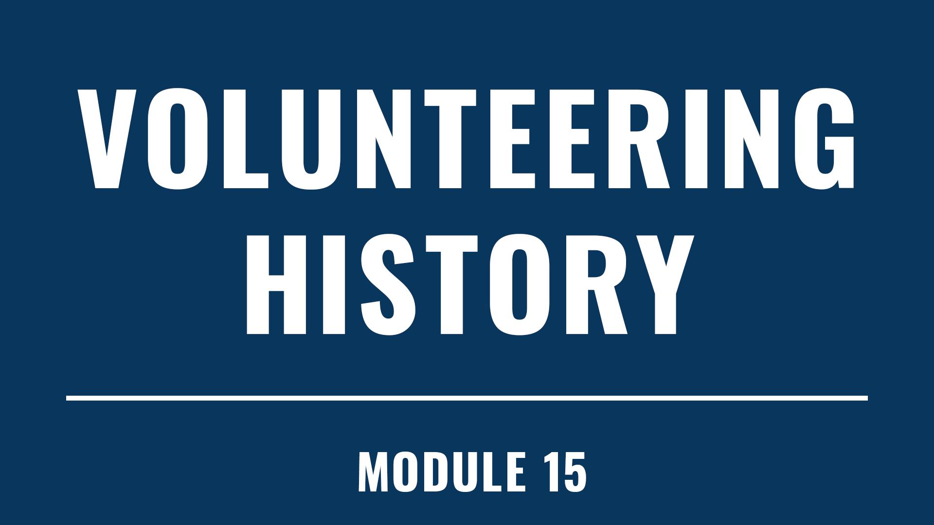 Volunteering History