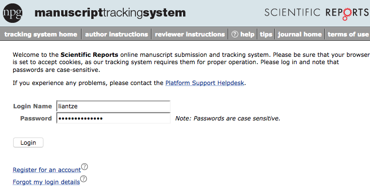 Log in to Scientific Report's manuscript tracking system; create a new account if you need to.