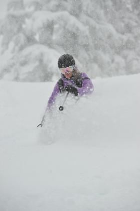 Classic deep powder shot cat skiing