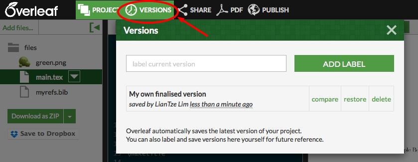 Using the Versions menu on Overleaf