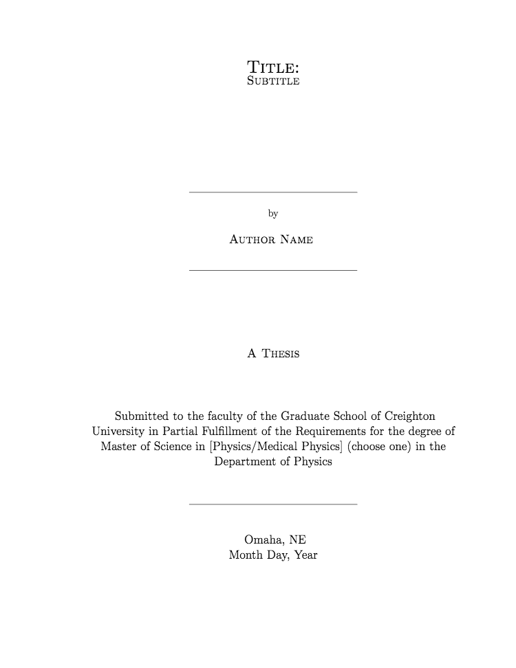 Creighton  University Physics Thesis Template