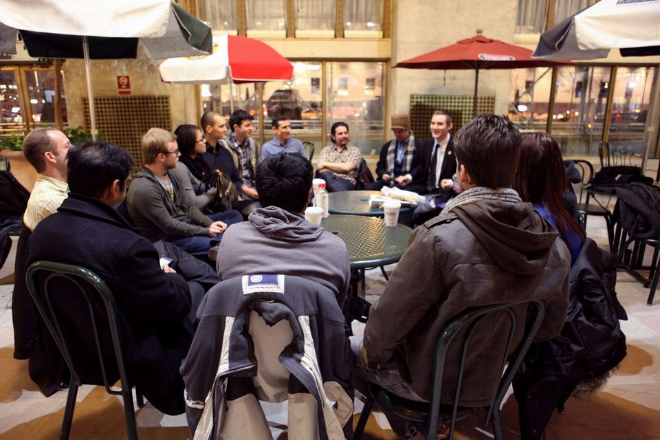 image: The group meets to discuss the latest Bitcoin news and exchange information