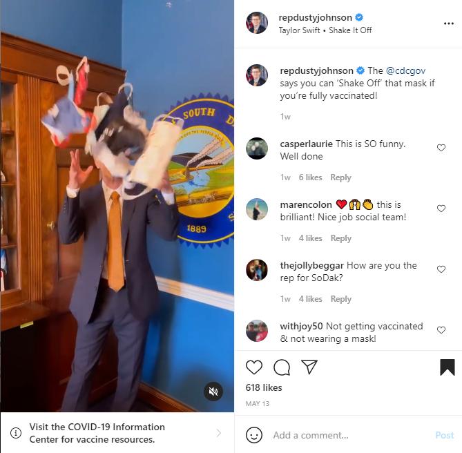 """Rep. Dusty Johnson, Instagram Reel: """"Shake it Off"""""""