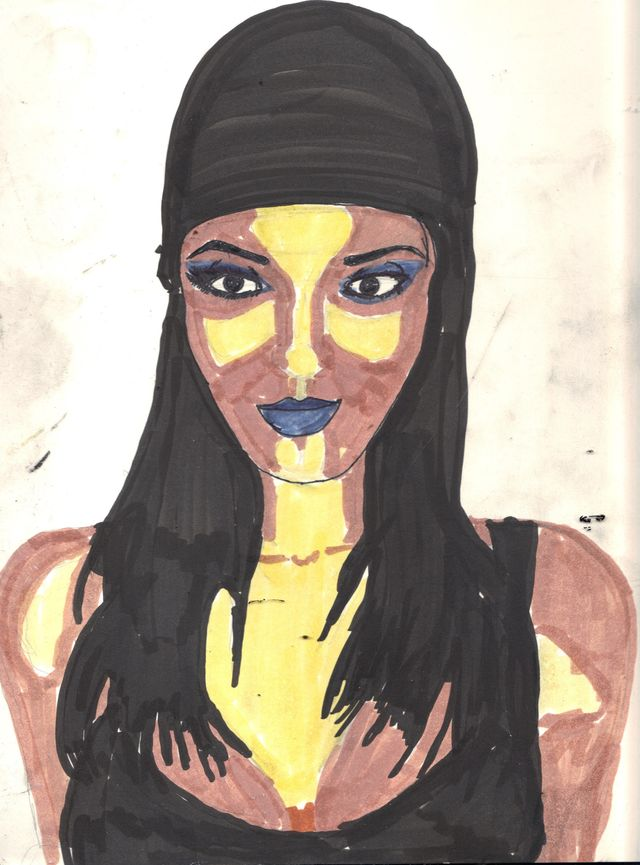 image: Woman with Blue Lips in Black Cap. $5.00