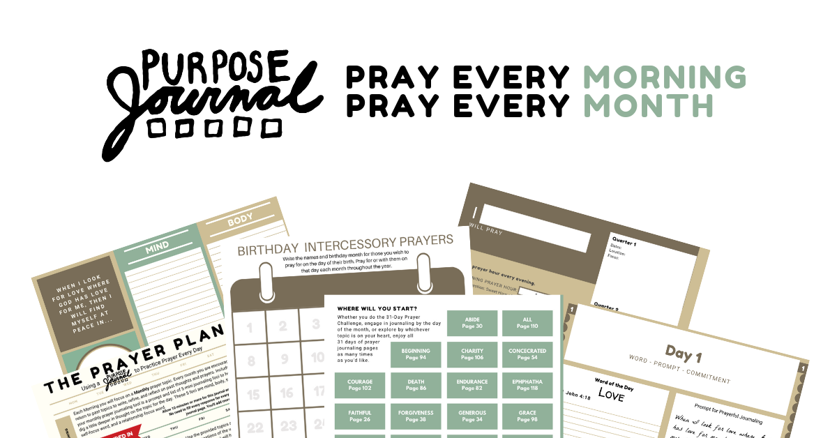 Click to view ordering options. Purpose Journal: Pray Every Morning. Pray Every Month.