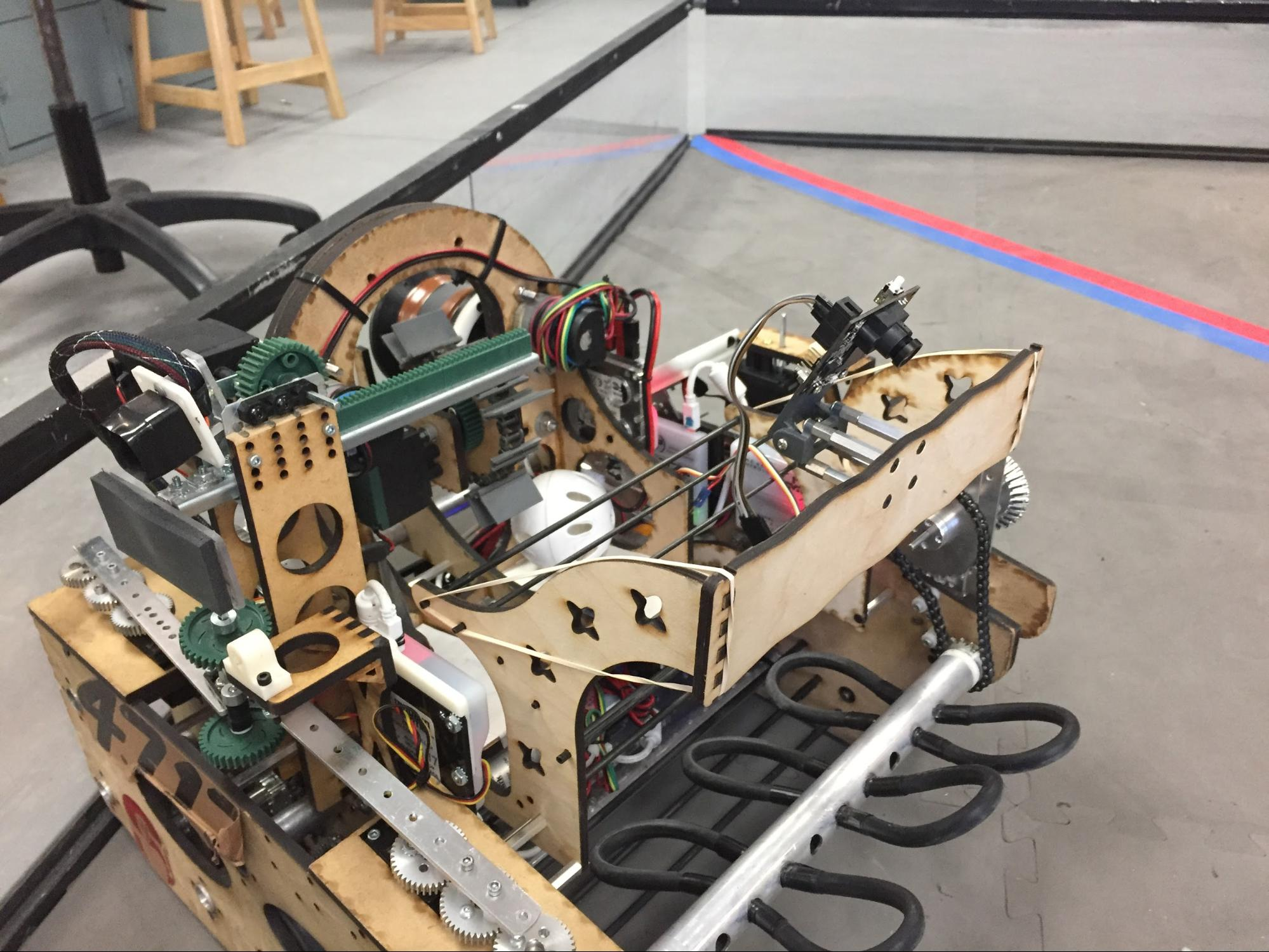 A second photograph of Timbur the robot in action during a competition
