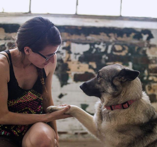 image: Louise O'Rourke and her dog Luna