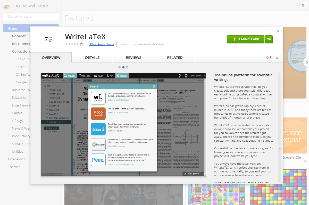WriteLaTeX app in Chrome Web Store screenshot