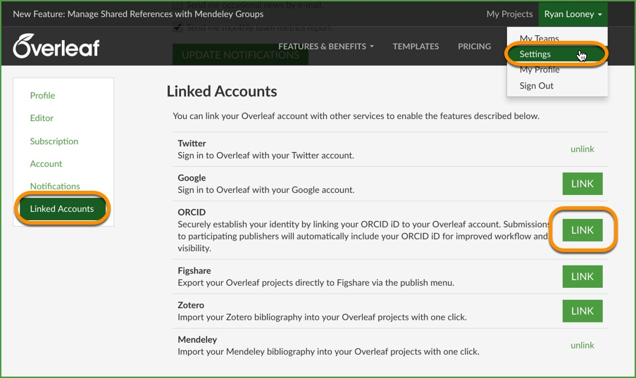 Link your Overleaf account to your ORCID iD