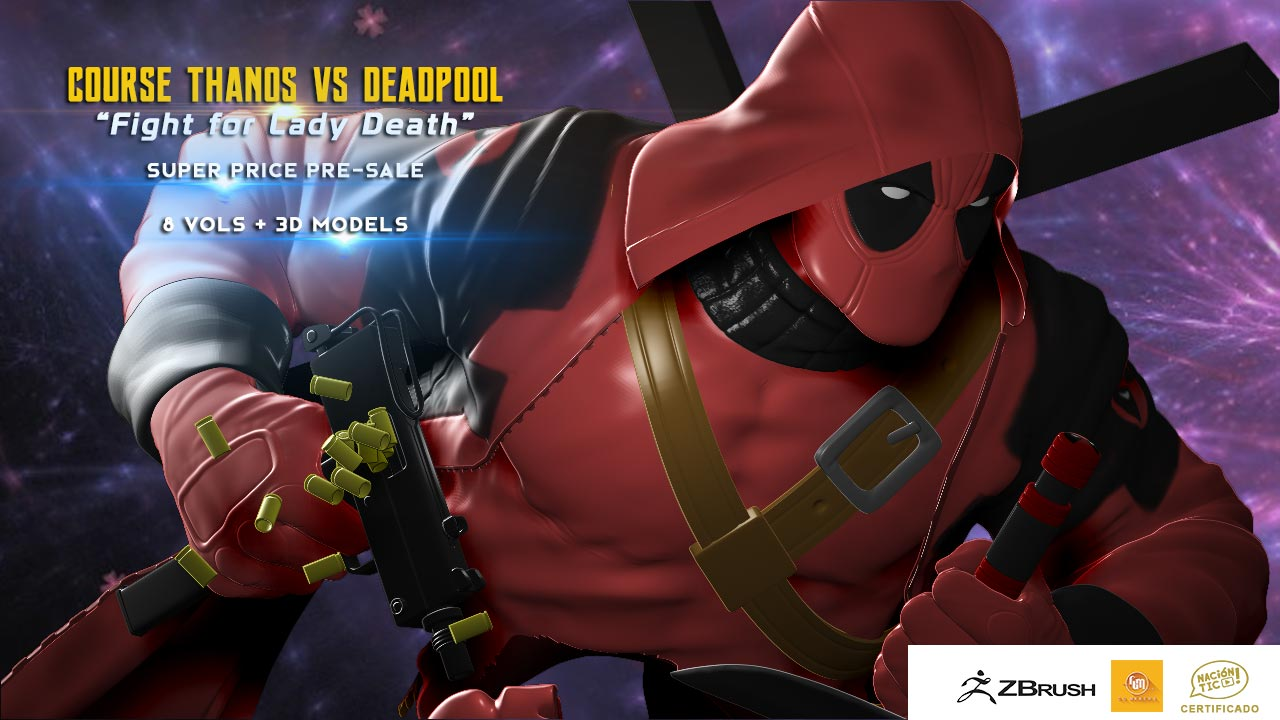 Thanos Vs Deadpool Course Package - Fight for Lady Death Course Zbrush