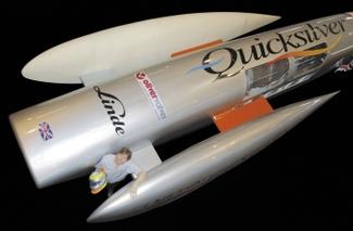 The Quicksilver craft with its driver, Nigel Macknight, displayed at The NEC, Birmingham © QWSR Ltd