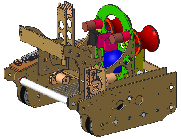 A CAD drawing of the team's robot, Timbur