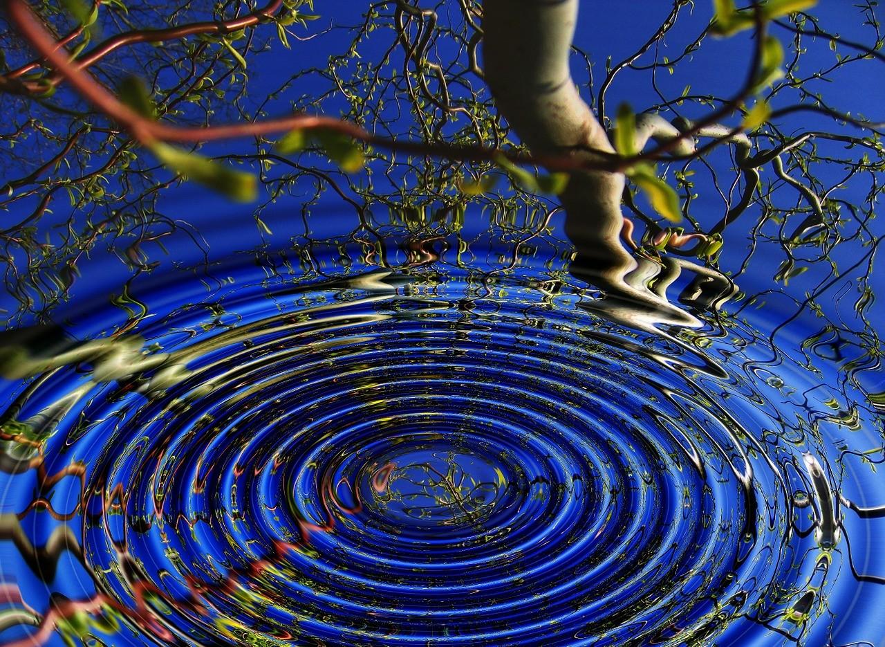 ripple in blue water