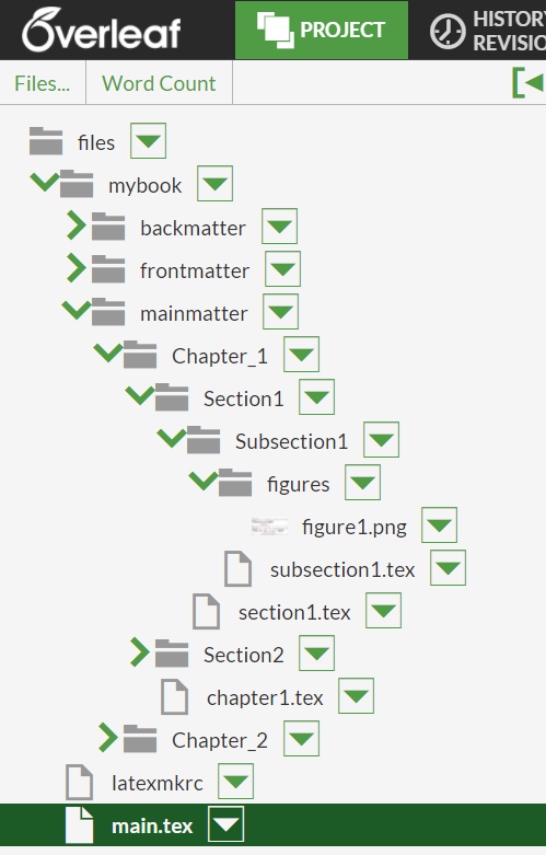An image of a nested folder structure on Overleaf