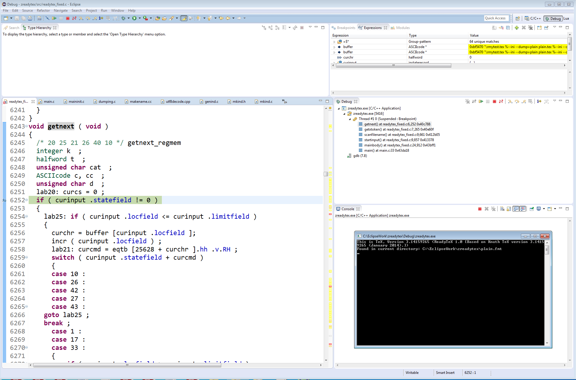 Screenshot showing TeX being executed via the Eclipse IDE