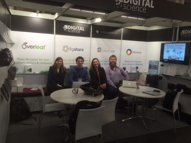 Overleaf Altmetric and Figshare in the Digital Science booth at Frankfurt Bookfair 2015