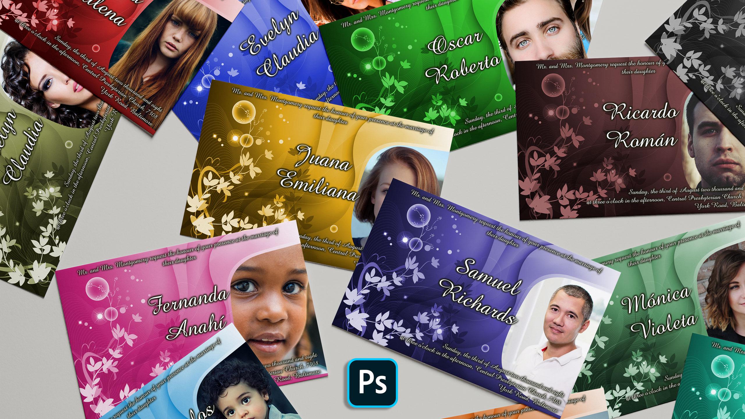 Photoshop: Automatiza invitaciones con bloc de notas y Excel