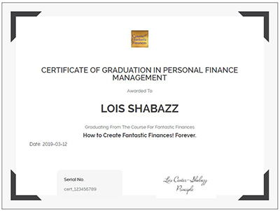 certificate for course for fantastic finances in personal finance