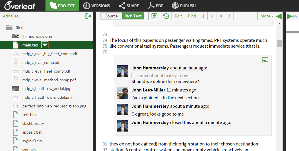 Overleaf comment on selected text with replies and closed screenshot