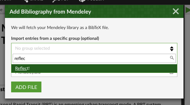 Select a Mendeley group by name by browsing or searching