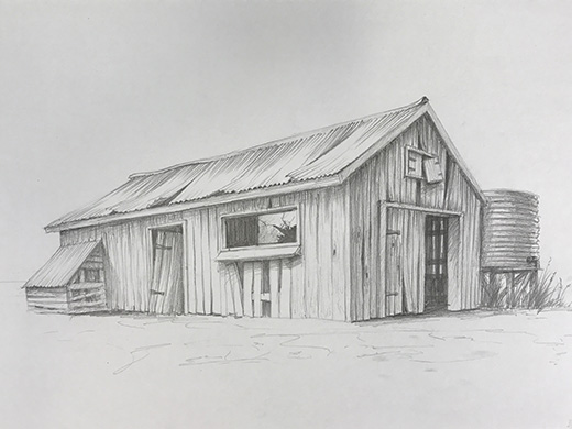 Farm shack perspective drawing
