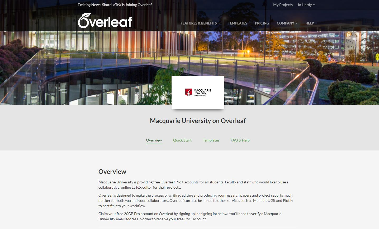 Screenshot showing Macquarie University's custom Overleaf portal