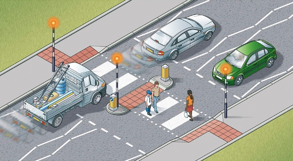 Rule 20- Zebra crossings with a central island are two separate crossings