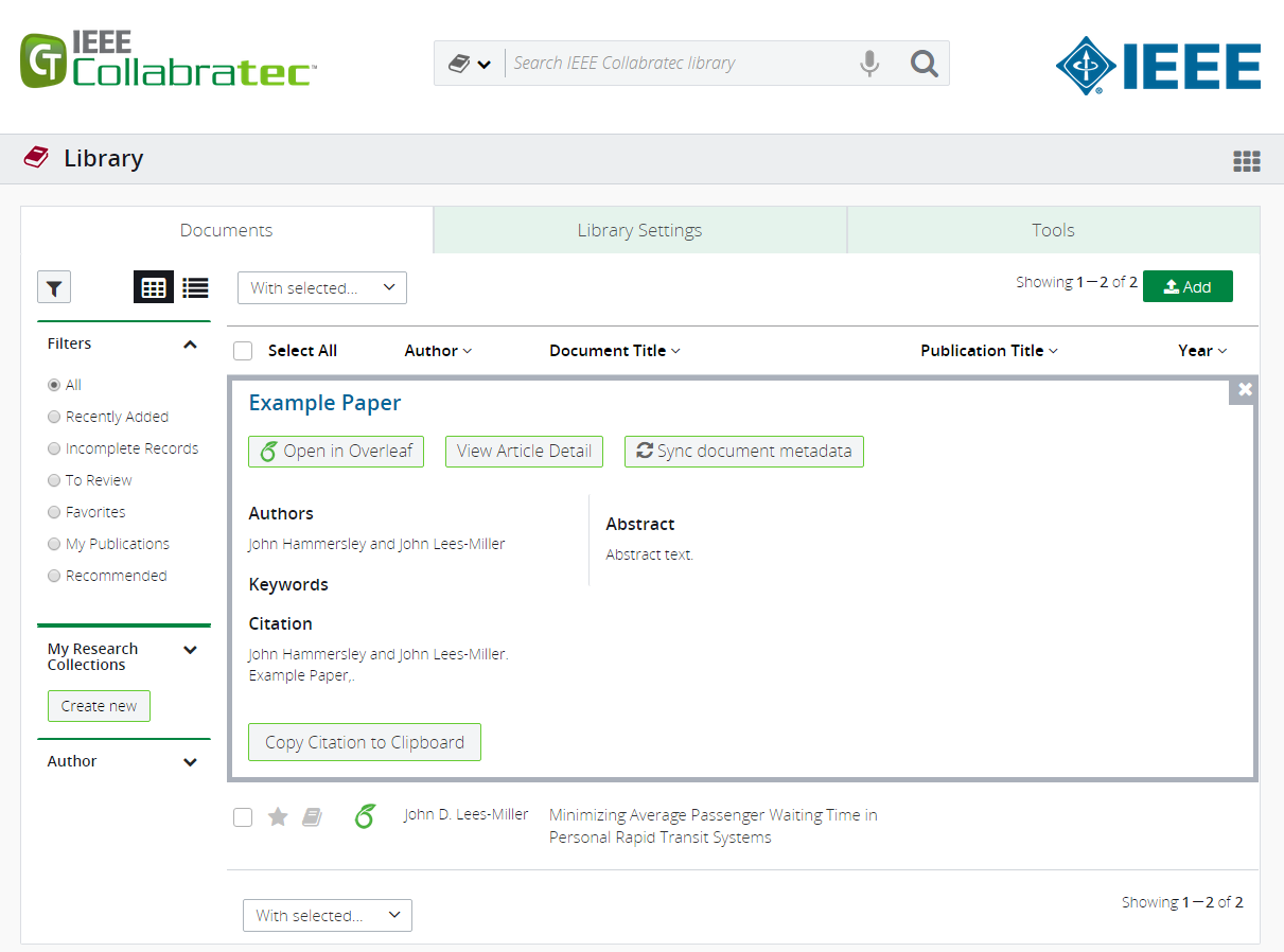 IEEE Collabratec screenshot showing Overleaf metadata integration